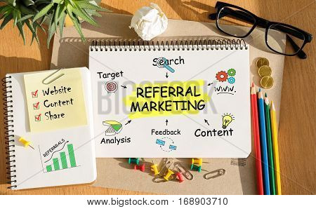 Notebook With Toolls And Notes About Referral Marketing
