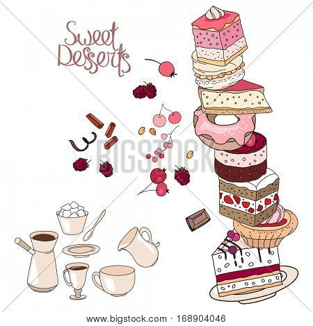 Cakes, sweet desserts and pastry isolated on white background. Dish, cup, plate, different objects for restaurant and cafe menu.
