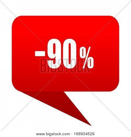 90 percent sale retail bubble red icon
