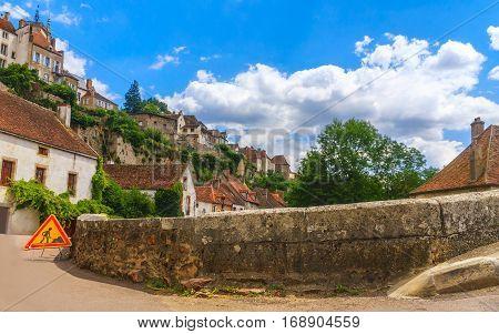 Bridge in picturesque medieval town of Semur en Auxois Burgundy France