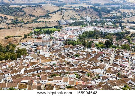 Aerial view of the historic white-washed pueblo of Jimena de la Frontera forms part of the Pueblos Blancos (white villages) of the province of Cadiz in Andalusia.