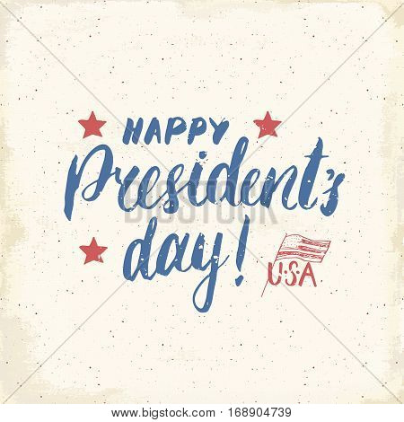 Happy President's Day Vintage Usa Greeting Card, United States Of America Celebration. Hand Letterin