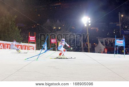 STOCKHOLM SWEDEN - JAN 31 2017: Denise Feiereabend (SUI) and competitor in the parallel slalom downhill skiing at the Alpine Audi FIS Ski World Cup - city event January 31 2017 Stockholm Sweden