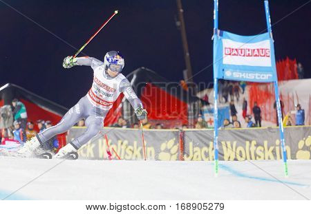 STOCKHOLM SWEDEN - JAN 31 2017: Alexis Pinturault (FRA) after the start in the downhill skiing in the parallel slalom alpine event Audi FIS Ski World Cup. January 31 2017 Stockholm Sweden