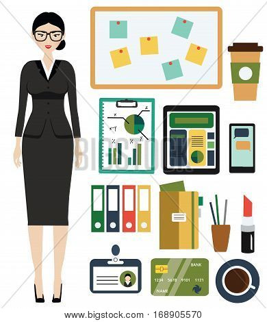 Business Woman kit. Female in business outfit office clothes and stuff. Isolated design elements for infographics presentations and other business