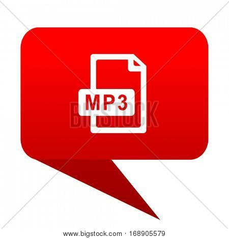 mp3 file bubble red icon.