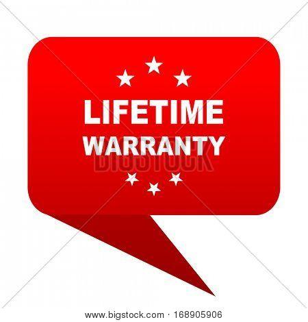 lifetime warranty bubble red icon