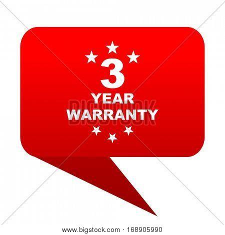 warranty guarantee 3 year bubble red icon