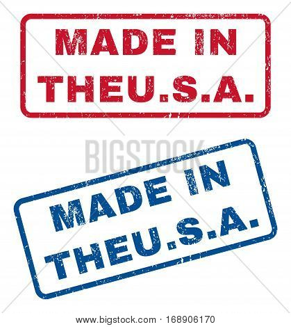 Made In Theu.S.a. text rubber seal stamp watermarks. Vector style is blue and red ink tag inside rounded rectangular shape. Grunge design and dust texture. Blue and red emblems.