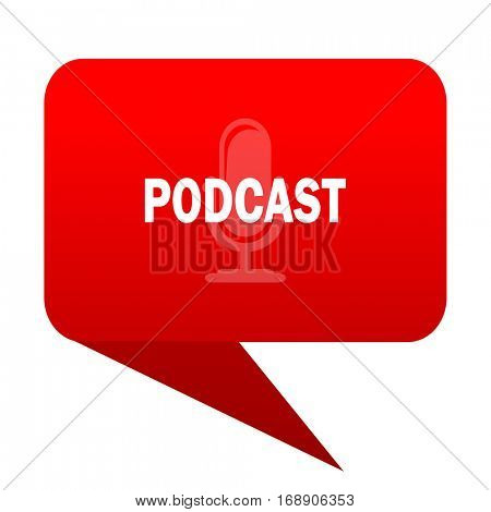 podcast bubble red icon