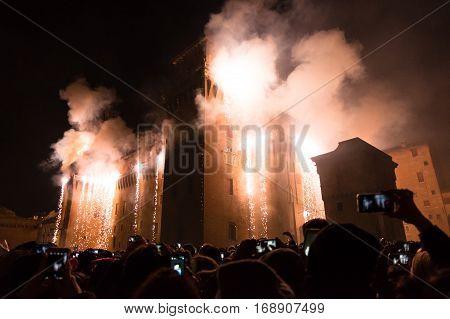 Fireworks for New Year's Eve in Ferrara Emilia-Romagna Italy