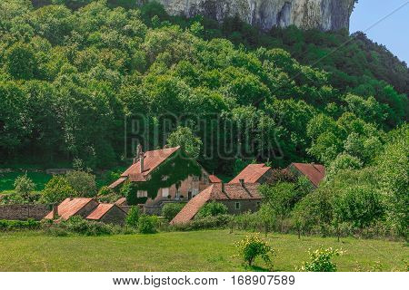 Picturesque medieval village Chateau-Chalon under the mountain. Chalon, Departement Jura, Franche-Comte, France