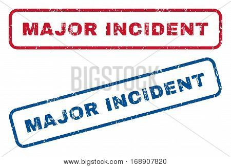 Major Incident text rubber seal stamp watermarks. Vector style is blue and red ink caption inside rounded rectangular shape. Grunge design and unclean texture. Blue and red emblems.