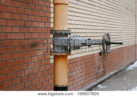 Gas energy system valve and pipe a lot of space for text vintage color-look