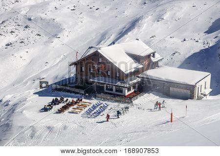 HINTERTUX, AUSTRIA - MARCH 28, 2015: Ski lodge Spannagel Haus in the ski region of the Hintertuxer Glacier (Tuxer Ferner) in Tyrol Austria