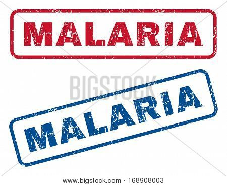 Malaria text rubber seal stamp watermarks. Vector style is blue and red ink tag inside rounded rectangular shape. Grunge design and scratched texture. Blue and red emblems.