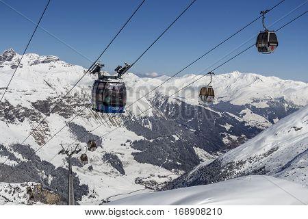 HINTERTUX, AUSTRIA - MARCH 28, 2015: Cableway to the Hintertuxer Glacier (Tuxer Ferner) in Tyrol Austria