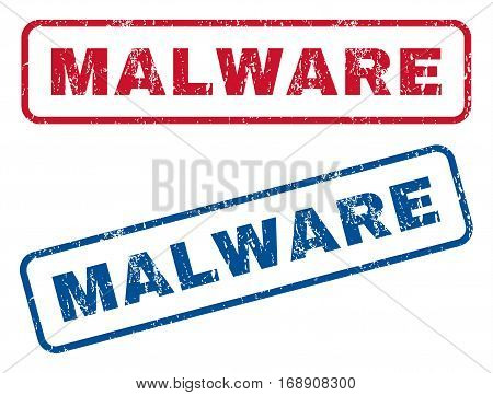 Malware text rubber seal stamp watermarks. Vector style is blue and red ink caption inside rounded rectangular banner. Grunge design and dust texture. Blue and red stickers.