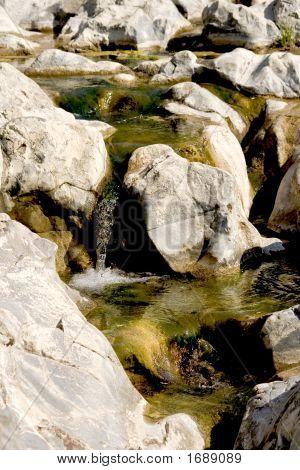 Cascade Waterfall From Rocks Fountain