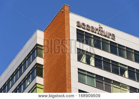 Prague, Czech Republic - February 5: Accenture Global Professional Services Company Logo On Czech He