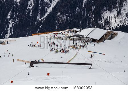 HINTERTUX, AUSTRIA - MARCH 29, 2015: People at the ski lodge Laemmerbichl on the Rastkogel mountain in Tyrol Austria