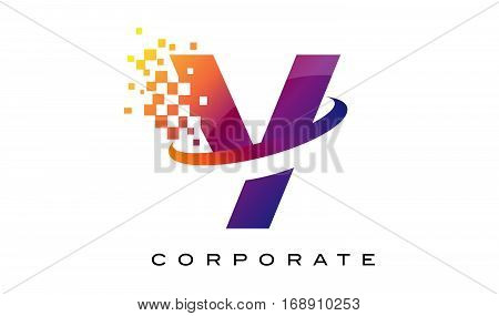 Letter Y Colourful Logo. Rainbow Y Letter Icon with Shattered Blocks.