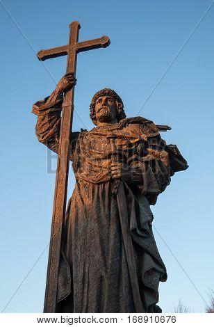 MOSCOW RUSSIA - FEBRUARY 2017: Monument to Holy Prince Vladimir the Great Borovitskaya Square near the Kremlin.