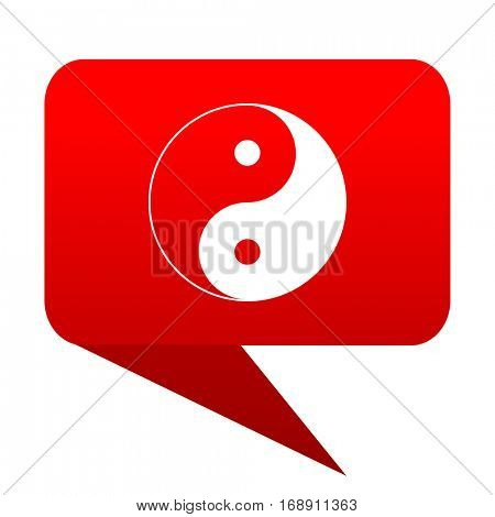 Ying yang bubble red icon