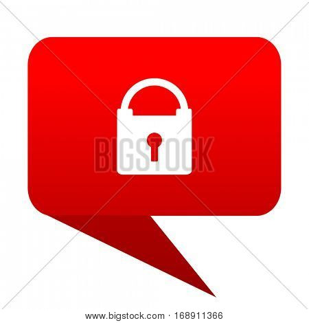 Padlock bubble red icon