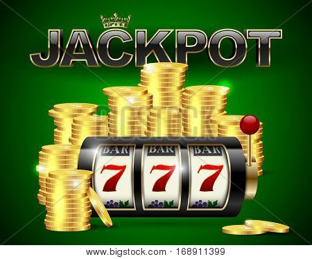 Slot machine with lucky seven and golden coins and red black jackpot text with crown on green casino background