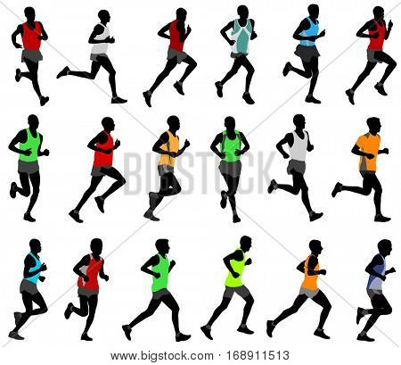 runners  in colored sportswear silhouettes- vector