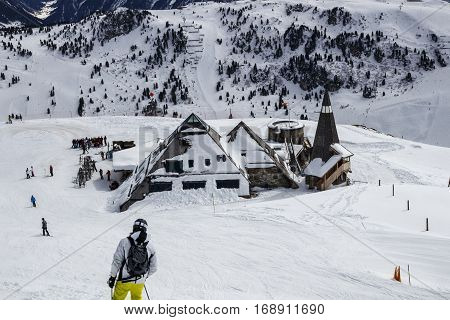 HINTERTUX, AUSTRIA - MARCH 29, 2015: Ski lodge and restaurant close to Penkenjoch in Tyrol Austria