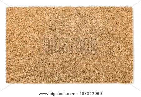 Blank Home Sweet Home Welcome Mat Isolated on a White Background Ready For Your Own Text.