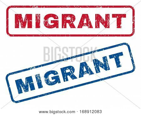 Migrant text rubber seal stamp watermarks. Vector style is blue and red ink tag inside rounded rectangular shape. Grunge design and dust texture. Blue and red emblems.