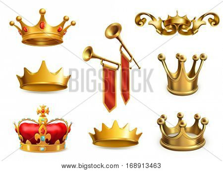 Gold crown of the king, 3d vector icon set