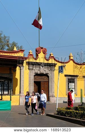 MEXICO CITY,MEXICO - DECEMBER 24,2016 : The colonial Town Hall Palace at Coyoacan in Mexico City