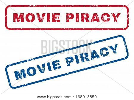 Movie Piracy text rubber seal stamp watermarks. Vector style is blue and red ink caption inside rounded rectangular shape. Grunge design and unclean texture. Blue and red signs.
