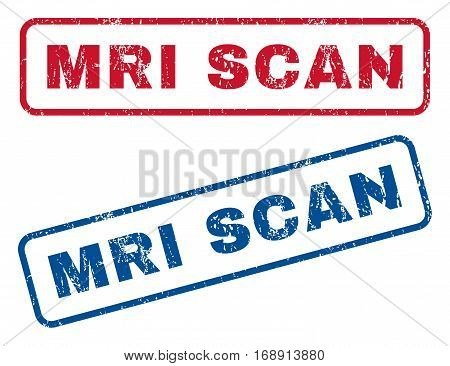 MRI Scan text rubber seal stamp watermarks. Vector style is blue and red ink tag inside rounded rectangular banner. Grunge design and scratched texture. Blue and red stickers.