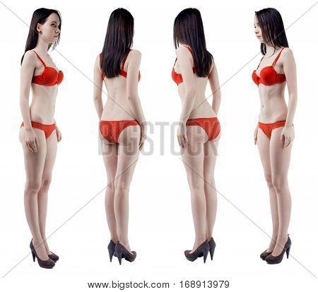 Turning around slim girl in lingerie on white background