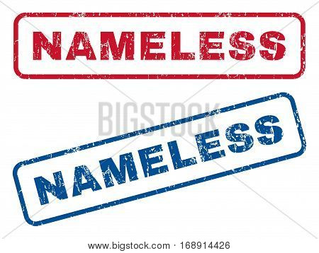Nameless text rubber seal stamp watermarks. Vector style is blue and red ink caption inside rounded rectangular banner. Grunge design and unclean texture. Blue and red stickers.