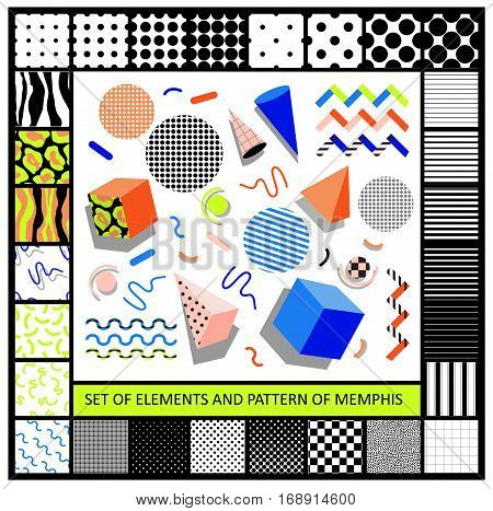 Set of geometric retro memphis style elements and seamless