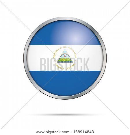 Vector Nicaraguan flag button. Nicaragua flag glass button style with metal frame.