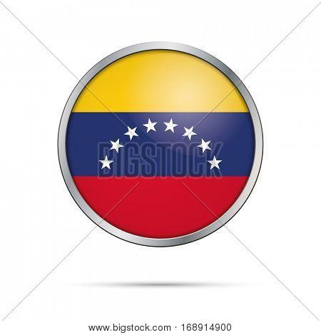 Vector Venezuelan flag button. Venezuela flag glass button style with metal frame.