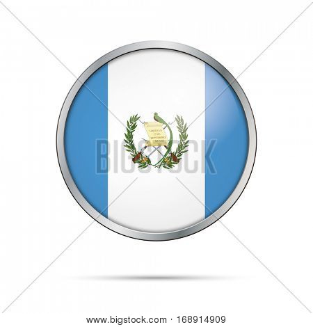 Vector Guatemalan flag button. Guatemala flag glass button style with metal frame.