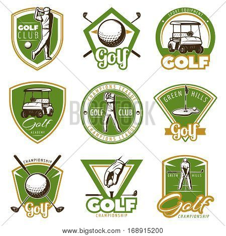 Colorful vintage golf labels for club academy league or championship isolated vector illustration