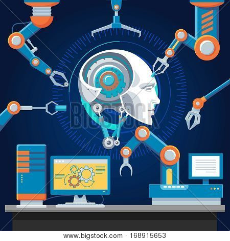 Technologic futuristic industry template with automatic robotic arms assembly cyborg head vector illustration