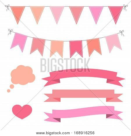 Set of pink flat buntings garlands flags ribbons heart and speech bubble. Celebration decor Valentines Day.