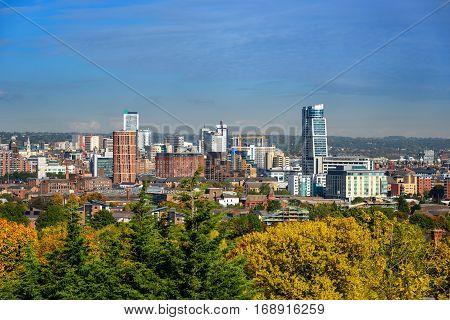 Leeds city skyline Yorkshire united kingdom .