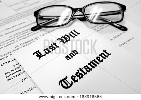 Last will and testament for Estate Planning glasses