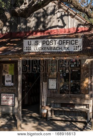 Luckenbach United States: January 19 2017: Luckenbach Texas Post Office